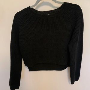 Sweaters - Ambience black cropped high low sweater
